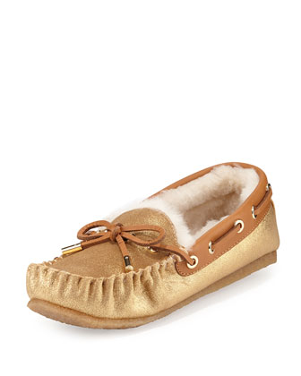 Maxwell Shearling-Lined Moccasin, Gold/Tan