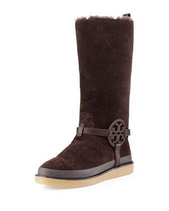 Dana Shearling-Lined Suede Logo Tall Boot, Coconut