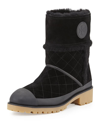 Boughtron Shearling Fur-Lined Logo Boot, Black
