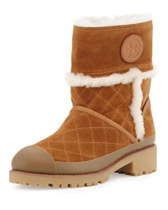 Boughtron Shearling Fur-Lined Logo Boot, Havana Tan