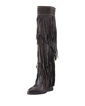 Wild Fringe Leather Wedge Boot, Black