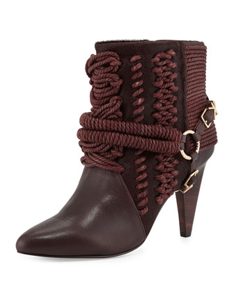 Chile Rope Harness Ankle Boot, Oxblood