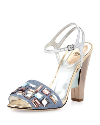 Mixed-Media Crystal-Trim Sandal