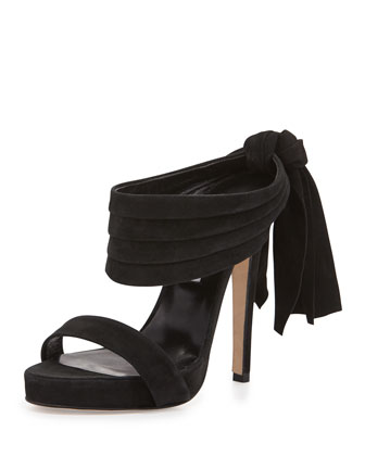 Sandy Suede Bow-Back Mule, Black