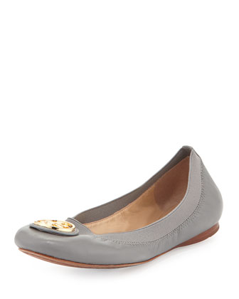 Caroline Leather Ballerina Flat, Quarry Rock (Gray)
