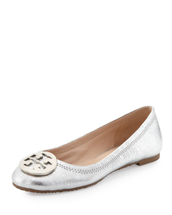 Reva Metallic Ballerina Flat, Palladium (Nickel)