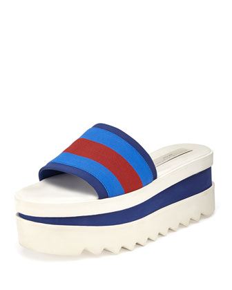Triple Platform Banded Slide, Blue/Red