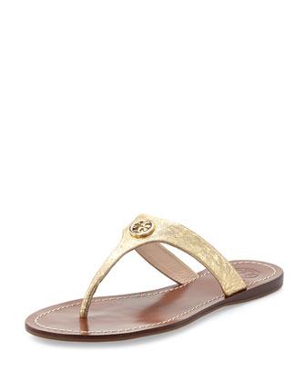 Cameron Metallic Thong Sandal, Saharian Gold