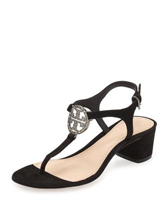 Violet Suede Logo City Sandal, Black