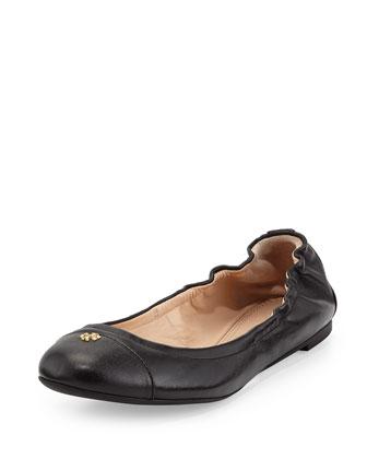York Leather Cap-Toe Ballerina Flat, Black