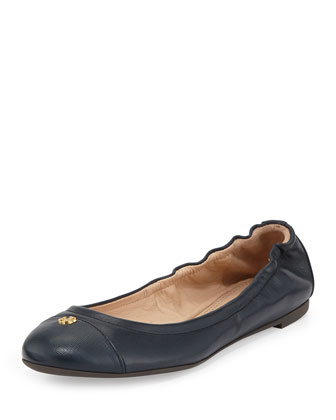 York Leather Cap-Toe Ballerina Flat, Tory Navy