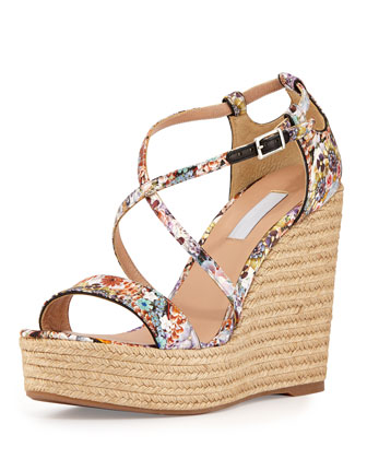 Jenny Crisscross Floral-Print Wedge, Multi