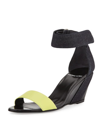Neon Denim & Leather Wedge Sandal