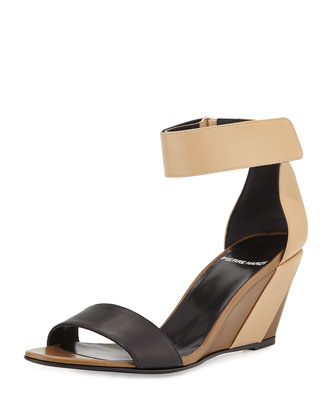 Tricolor Leather Wedge Sandal, Multi/Beige