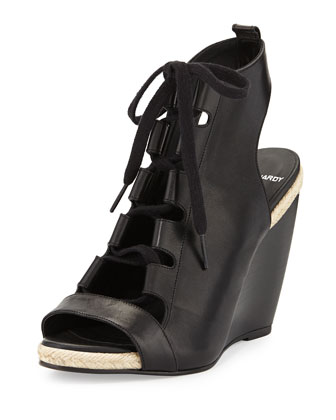 Leather Lace-Up Wedge Sandal, Black