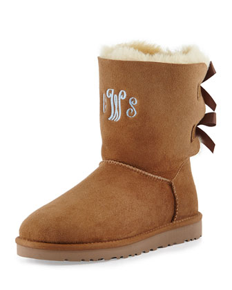 Bailey Monogrammed Bow-Back Short Boot, Chestnut