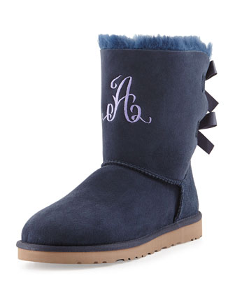 Bailey Monogrammed Bow-Back Short Boot, Navy