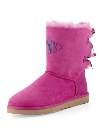 Monogrammed Bailey Bow-Back Short Boot, Victorian Pink