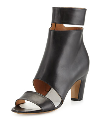 Cutout Leather Ankle-Wrap Bootie, Black