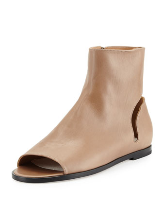 Flat Open-Toe Ankle Boot, Camel