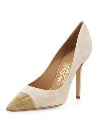 More Suede Chain Cap-Toe Pump, New Bisque