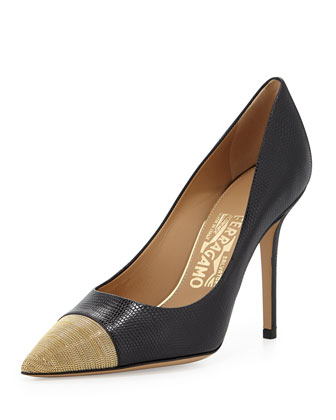 More Lizard-Print Chain Cap-Toe Pump, Nero