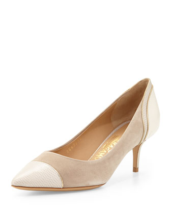 Melide Perforated Suede Pump, Nude