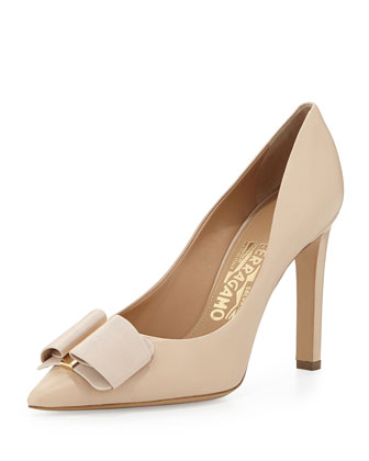 Mimi Pump w/Grosgrain Bow, New Bisque