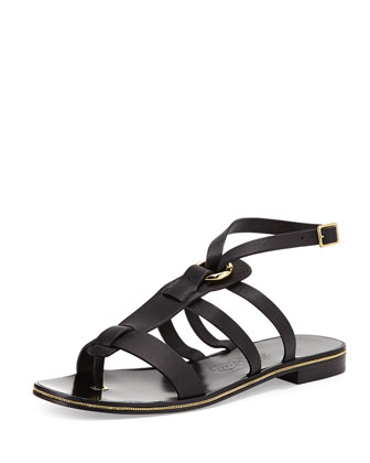Fiamma Leather Gladiator Sandal, Nero