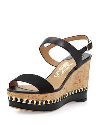 Mollie Chain-Trim Wedge Sandal, Nero
