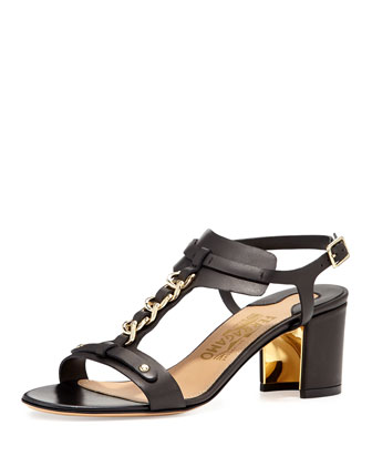 Maki Chain T-Strap City Sandal, Nero