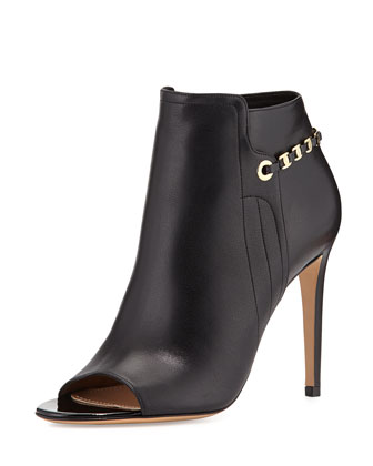 Maka Leather Chain-Trim Bootie, Nero