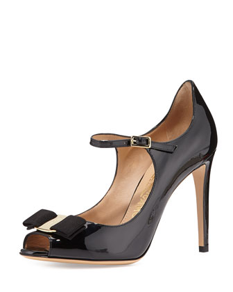 Mood Patent Mary Jane Bow Pump, Nero