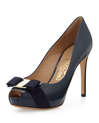 Plum Peep-Toe Bow Pump, Oxford Blue