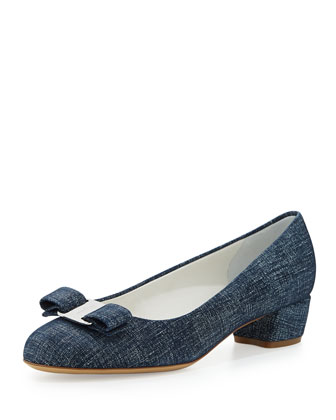 Vara Denim-Suede Bow Pump