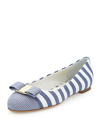 Varina Striped Fabric Ballerina Flat