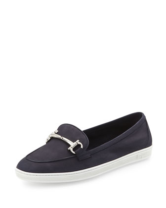 Mercury Suede Gancini Loafer, Oxford Blue