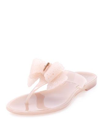 Pandy Lace-Bow Jelly Thong Sandal, Macaron