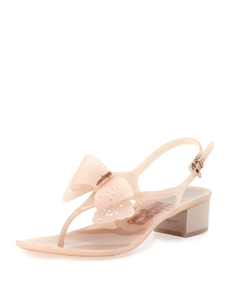 Perala Lace-Bow Jelly Sandal, Macaron