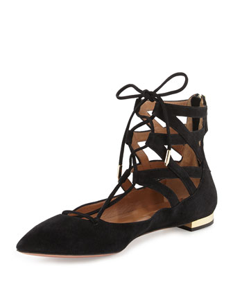 Belgravia Suede Lace-Up Flat, Black
