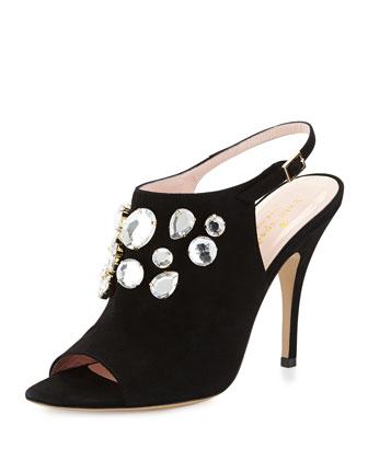 farrow crystal slingback sandal, black