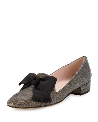gino glitter bow loafer pump, bronze