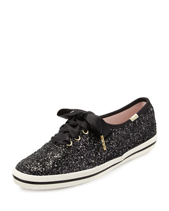 glitter lace-up sneaker, black
