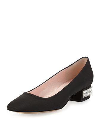 mitzi grosgrain crystal-heel pump, black