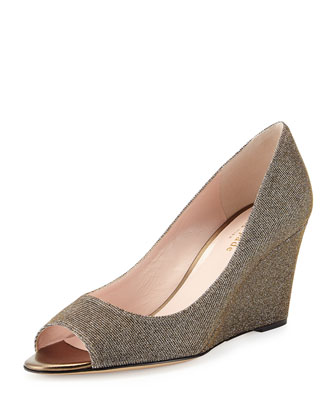 radiant sparkle wedge pump, bronze