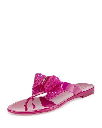 Pandy Lace-Bow Jelly Thong Sandal, Purple