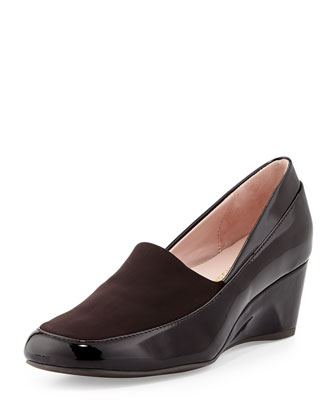 Rabea Patent Stretch Wedge Pump, Dark Brown