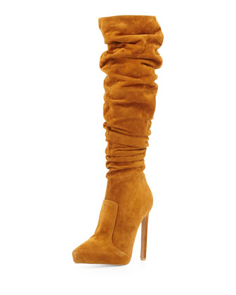 Alamode Slouch Knee Boot, Tan