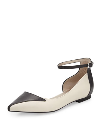 Most Likely Half d'Orsay Ankle-Wrap Flat, Black/White