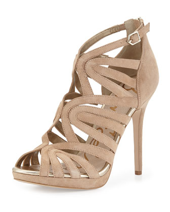 Eve Suede Caged Sandal, Nude